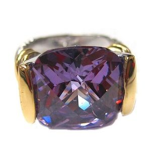 Amethyst Crystal Two Tone Ring, Sz 7, NWT